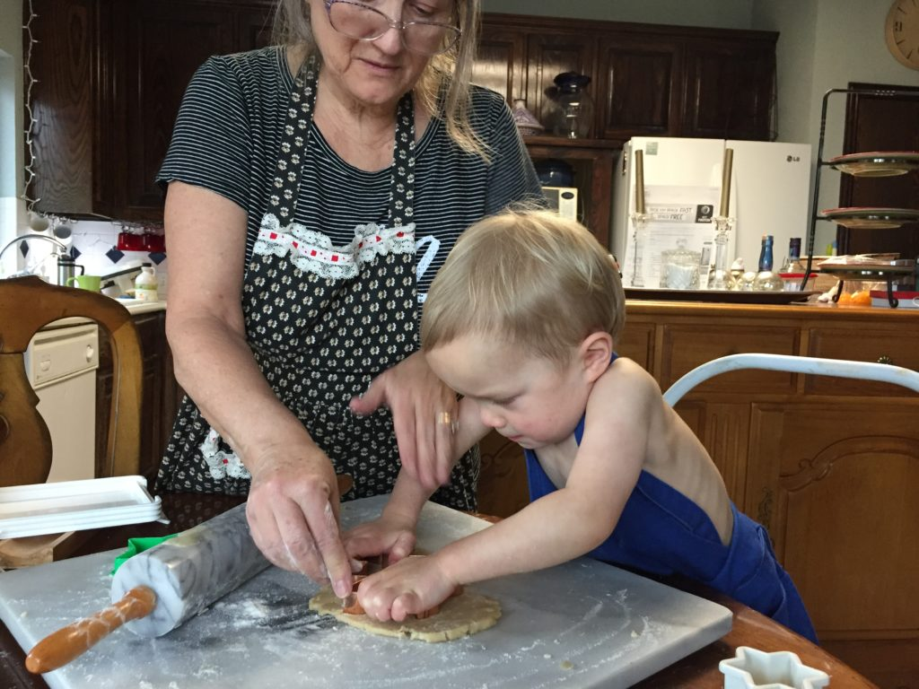 Leo's first Christmas cookie baking experience with his YaYa.