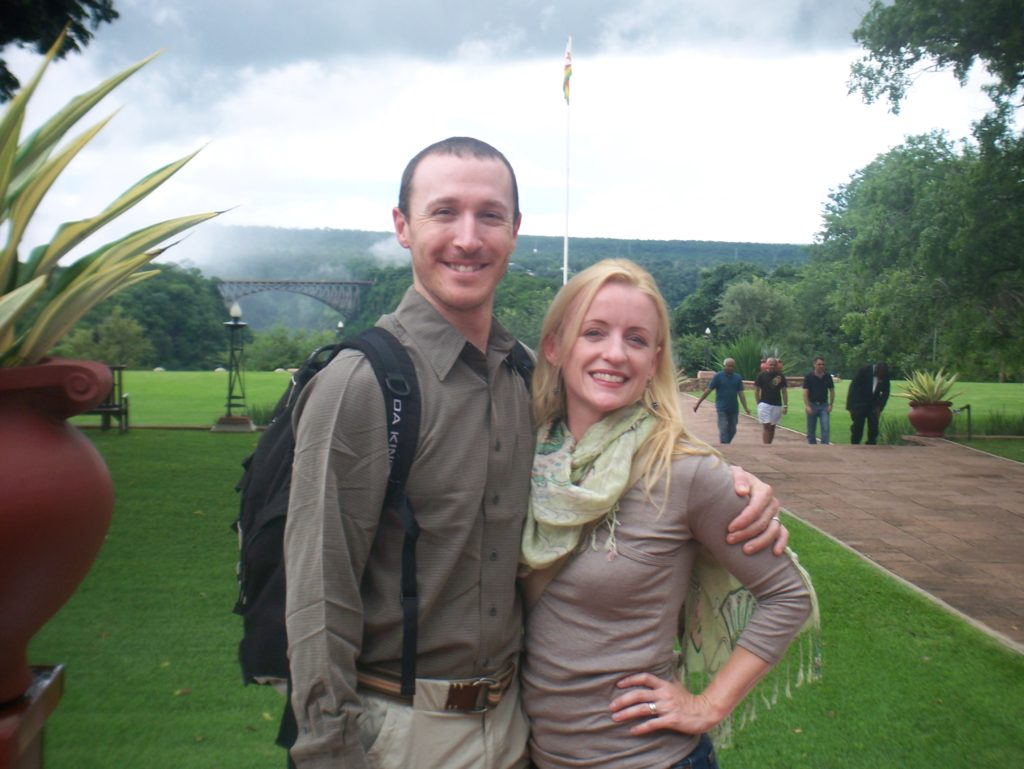 Teresa and Michael took plenty of vacations while working, but they were always big trips squeezed into small chunks of time. Here they are at Victoria Falls in Zimbabwe.