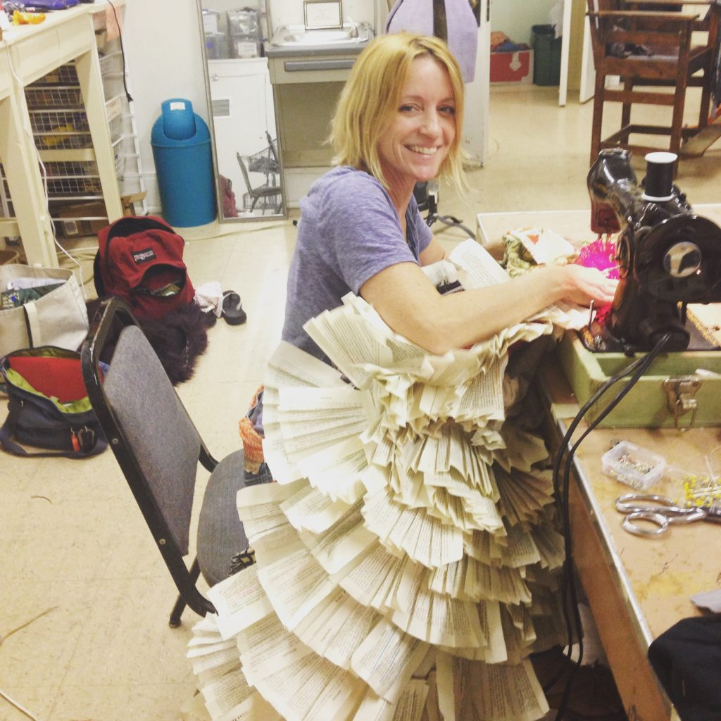 Teresa at work creating costumes for a local theater in Austin, Texas.