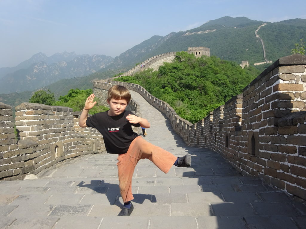 Practicing some martial arts on the Great Wall of China. Obviously.