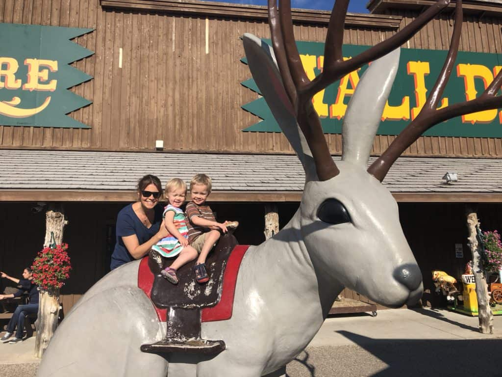 Photo op on a giant jackalope... obviously