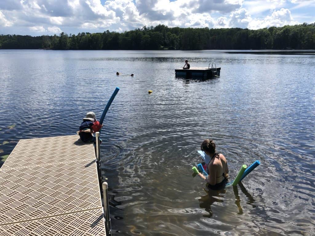 The kids and I were equally squeamish about swimming through the seaweed, but pool noodles helped us float above it until we could get to the deeper water by the floating dock.