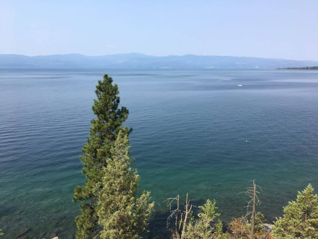 Flathead Lake in Montana. The view was unfortunately obscured by all the smoke in the air from nearby fires. It was still stunning, though.
